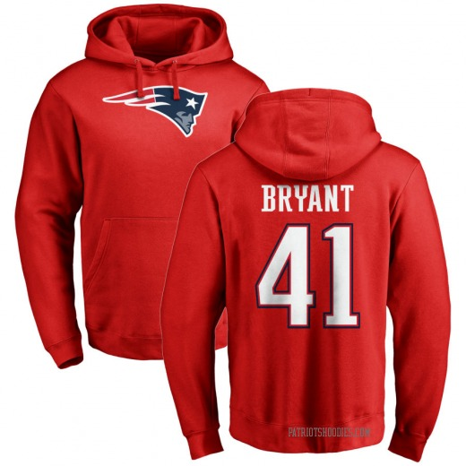 Youth Myles Bryant New England Patriots Red Pro Line Name & Number Logo Pullover Hoodie